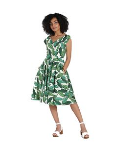 Hell Bunny Rainforest Leaf Rockabilly 50s Dress
