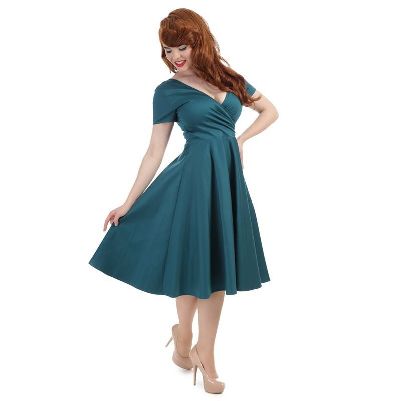 Collectif Maria Teal Green 50s Evening Swing Dress