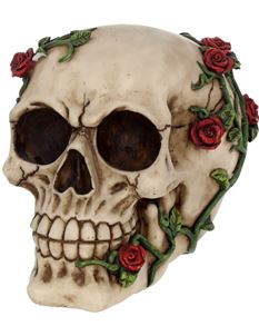 Nemesis Now Red Rose From Beyond Skull Ornament