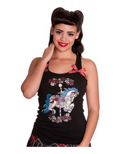 Hell Bunny Carousel Vest Top Black