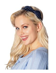 Banned 50's Style Dionne Navy And White Bow Headband
