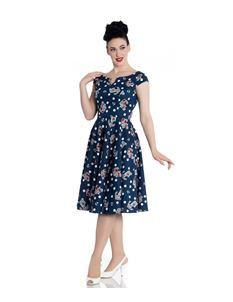 Hell Bunny 50s Salina Navy Blue Nautical Polka Dress
