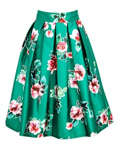 Joanie Clothing Milly Green Floral Full Skirt