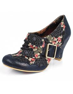 Irregular Choice Jatta Navy Low Heels Ankle Boot Size 4