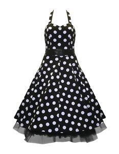 H&R London 50's Dress Big Polka Dot Dress Black & White
