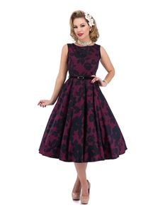 Lady Vintage 50's Magenta Shades Floral Dress