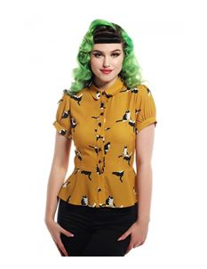 Collectif Mary Grace Kitty Cat Print Mustard Blouse