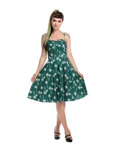 Collectif Fairy Vintage Palm Swing Dress In Green