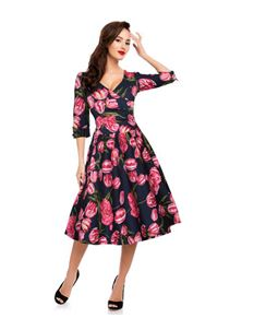 Dolly & Dotty 3 Quarter Length Sleeve Swing Dress
