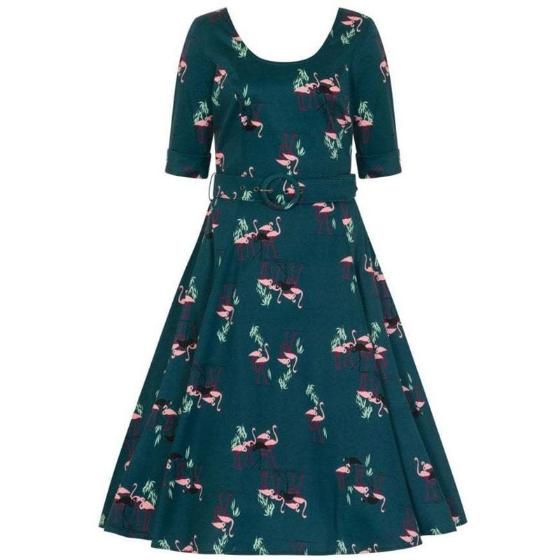 570f08e31fcbc Collectif June Pink Flamingo Teal 50s Swing Dress