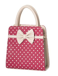 Dancing Days-Banned Carla Cream Polka Dot Wine Handbag