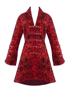 H&R London Womens Long Tattoo Flock Gothic Coat Red