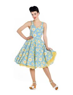 Hell Bunny 50s Sunshine Gingham Floral Swing Dress