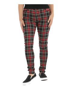 Hell Bunny Clash Skinny Red Check Tartan Trousers