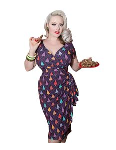 Lady Vintage Festive Trees Elsie Wiggle Dress