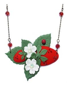 Guns N Posies Strawberry & Flowers Cluster Necklace