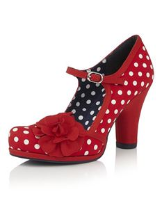 Ruby Shoo Hannah Red White Polka Dot Stappy Heels