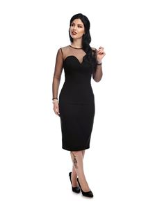 Collectif Morticia Polka Dot Black Evening Pencil Dress
