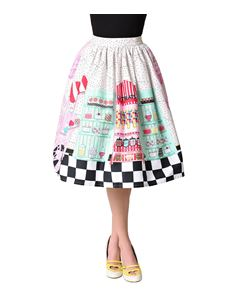 Unique Vintage 1950s Candy Shop High Waist Circle Skirt