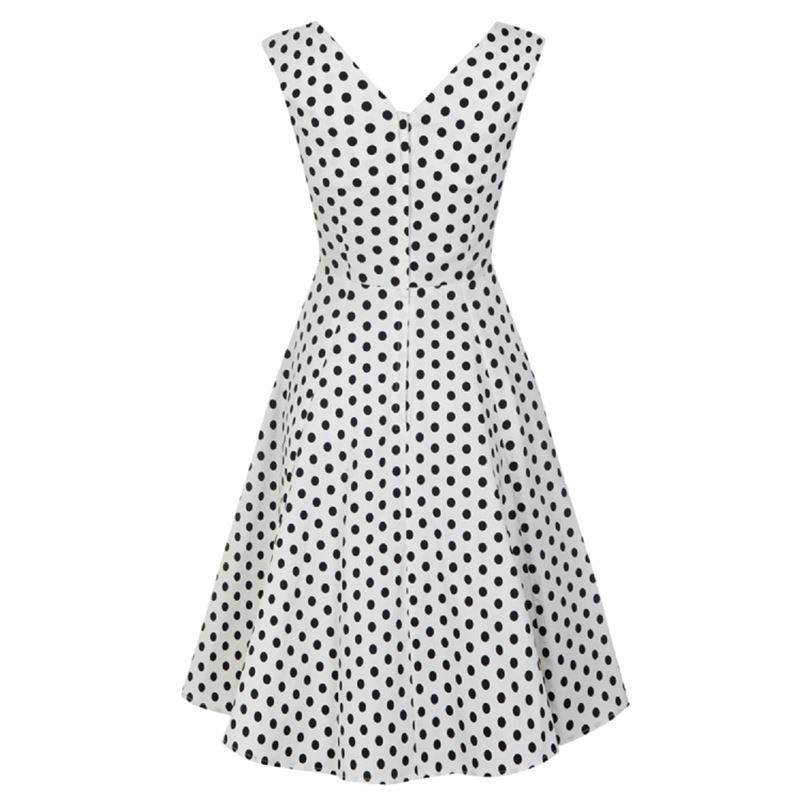 Collectif Pamela White and Black Polka Dot 50s Style Summer Doll Dress