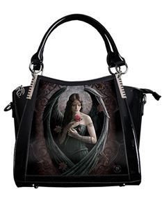 Anne Stokes 3D Angel Rose Fantasy PVC Black Handbag