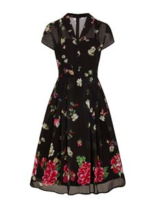 Hell Bunny Jolie Papillon 40s Chiffon Floral Tea Dress