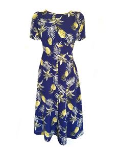 Trollied Dolly Chic & Simple Dress - Navy Pineapple