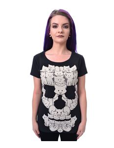 Cupcake Cult Cat Skull Alternative Black Tee T-Shirt