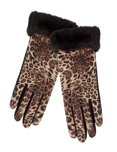 Pia Rossini Vintage Style Fur Trim Leopard Wool Mix Gloves