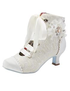 Joe Browns Hitched Wedding Satin Metallic Boots Ivory