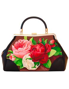 Woody Ellen 50's Style Red Paris Floral Retro Handbag