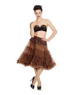 "Hell Bunny 50s Rockabilly Long (25/27"") Brown Petticoat"