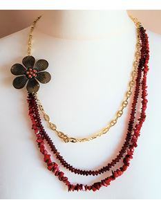 Shazazz Jewellery Red And Gold Flower Layered Necklace