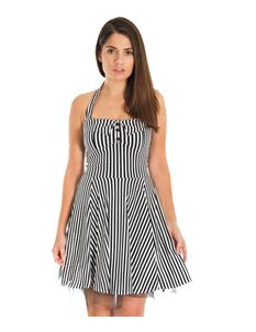 Bettie Vintage White Black Stripes Mini Dress