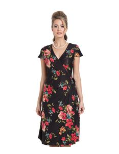 Voodoo Vixen Sophia Black And Red Floral Wrap Dress