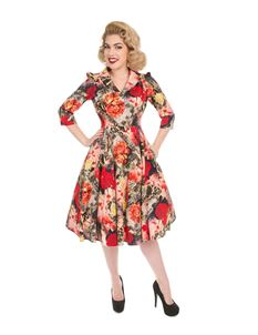 H&R London Wild Roses Floral 50's Style Swing Dress