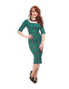 Collectif Vintage Amber Evergreen Check Pencil Dress