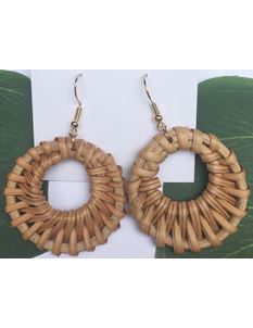 Midcentury Missy 1950's Wicker Hoop Earrings