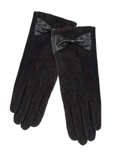 Pia Rossini Vintage Style Black Lace With Bow Gloves