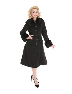 Hearts & Roses - Marilyn Faux Fur Trim Black Coat
