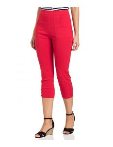 Voodoo Vixen Holly 50s Red Capris Cropped Trousers