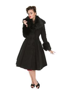 Hearts & Roses Black Vintage Fiona Rockabily Swing Coat
