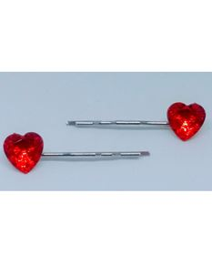 Said Lucy Red Heart Shiny Bobby Pins