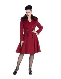 Hell Bunny Milan Dark Red Detachable Faux Fur Coat