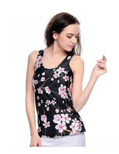 Poisoned Blossome Floral Digital Print Sleeveless Vest Top
