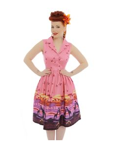 Lindy Bop Matilda Pink Safari Print Swing Dress Size 8