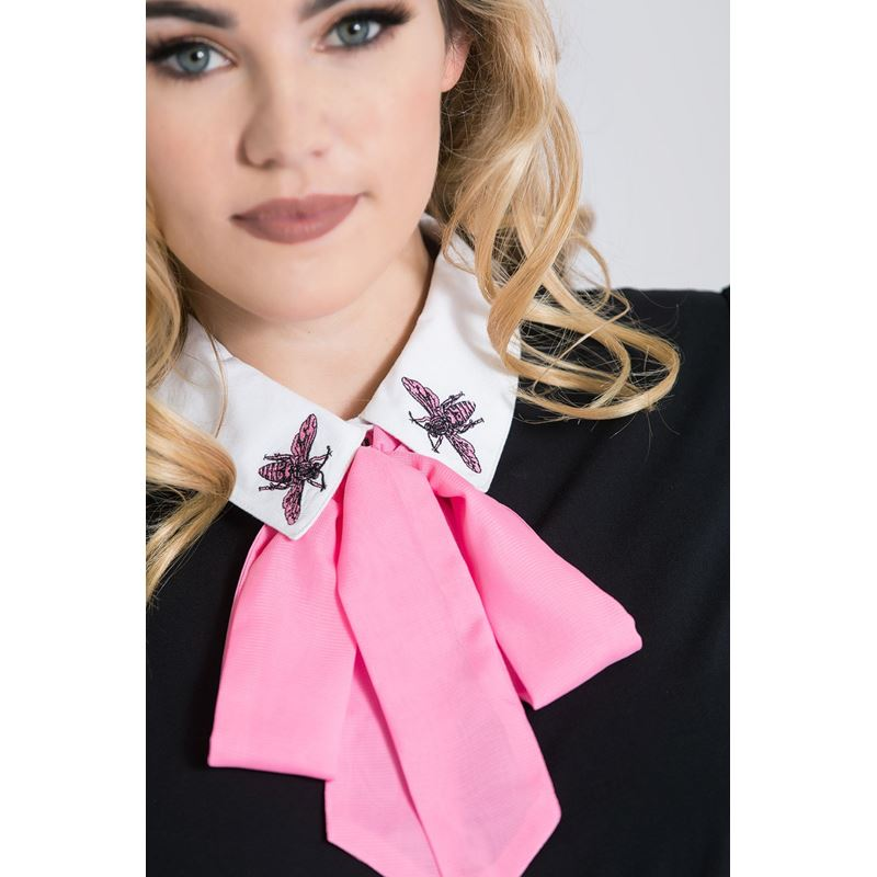 Hell Bunny Buzz Bee Removable Bow Blouse