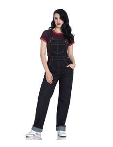 Hell Bunny Elly May 40s 50s Navy Blue Denim Dungarees