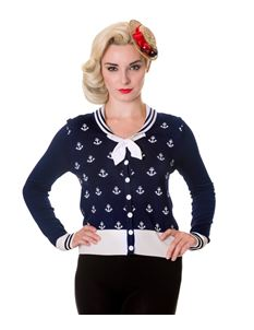 Banned 50s Navy Blue Nautical Small Anchors Cardigan