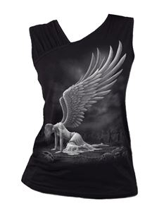 Spiral Direct Angel Gathered Shoulder Slant Vest Top